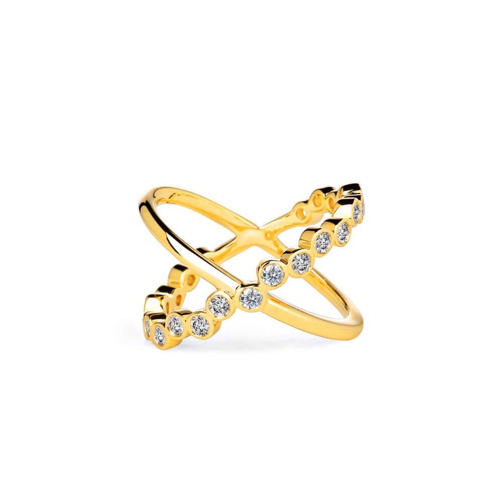 18KYG BUBBLES CHAMPAGNE DIAMOND CROSS RING