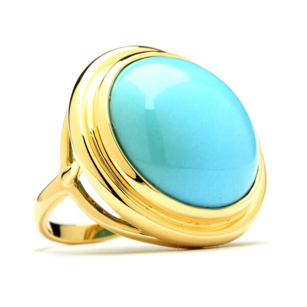 Closeup photo of SLEEPING BEAUTY TURQUOISE MOGUL RING