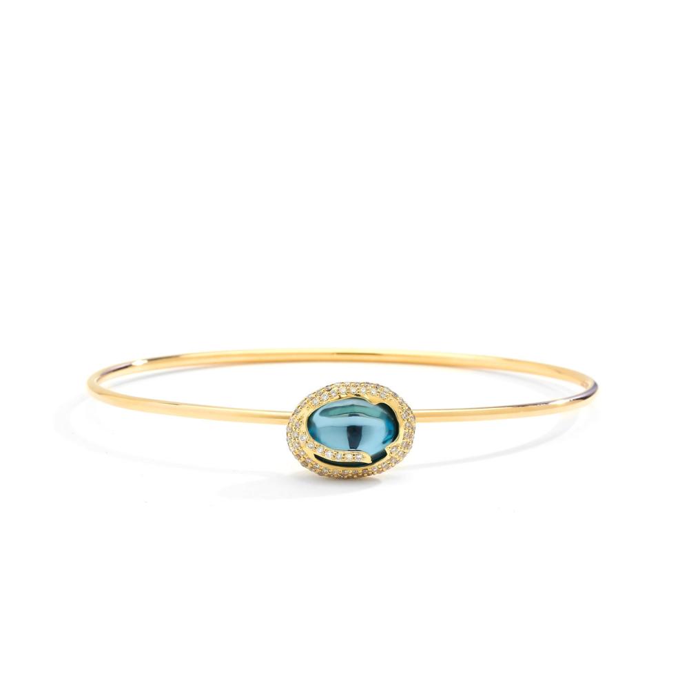BLUE TOPAZ & CHAMPAGNE DIAMOND COBBLESTONE BRACELET