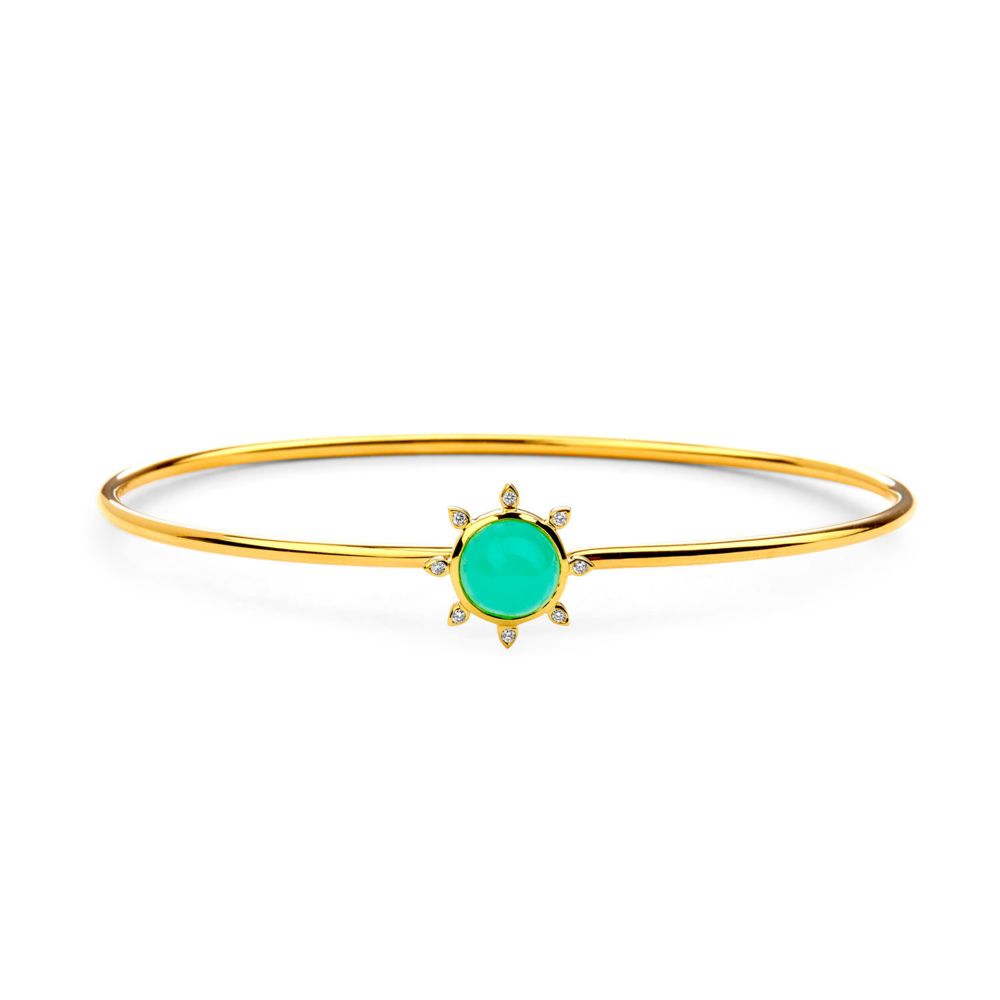 Chrysoprase sun bracelet with champagne diamonds