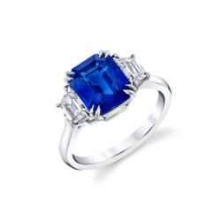 Closeup photo of 3.53 ct Emerald Cut Blue Sapphire-Ceylon  set in Platinum with 2 Trapezoid F/G, VS1 Diamonds ring
