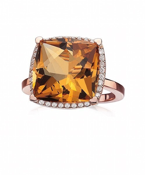 Closeup photo of 18Kt RG ring with a 13mm Cushion Citrine and Diamonds