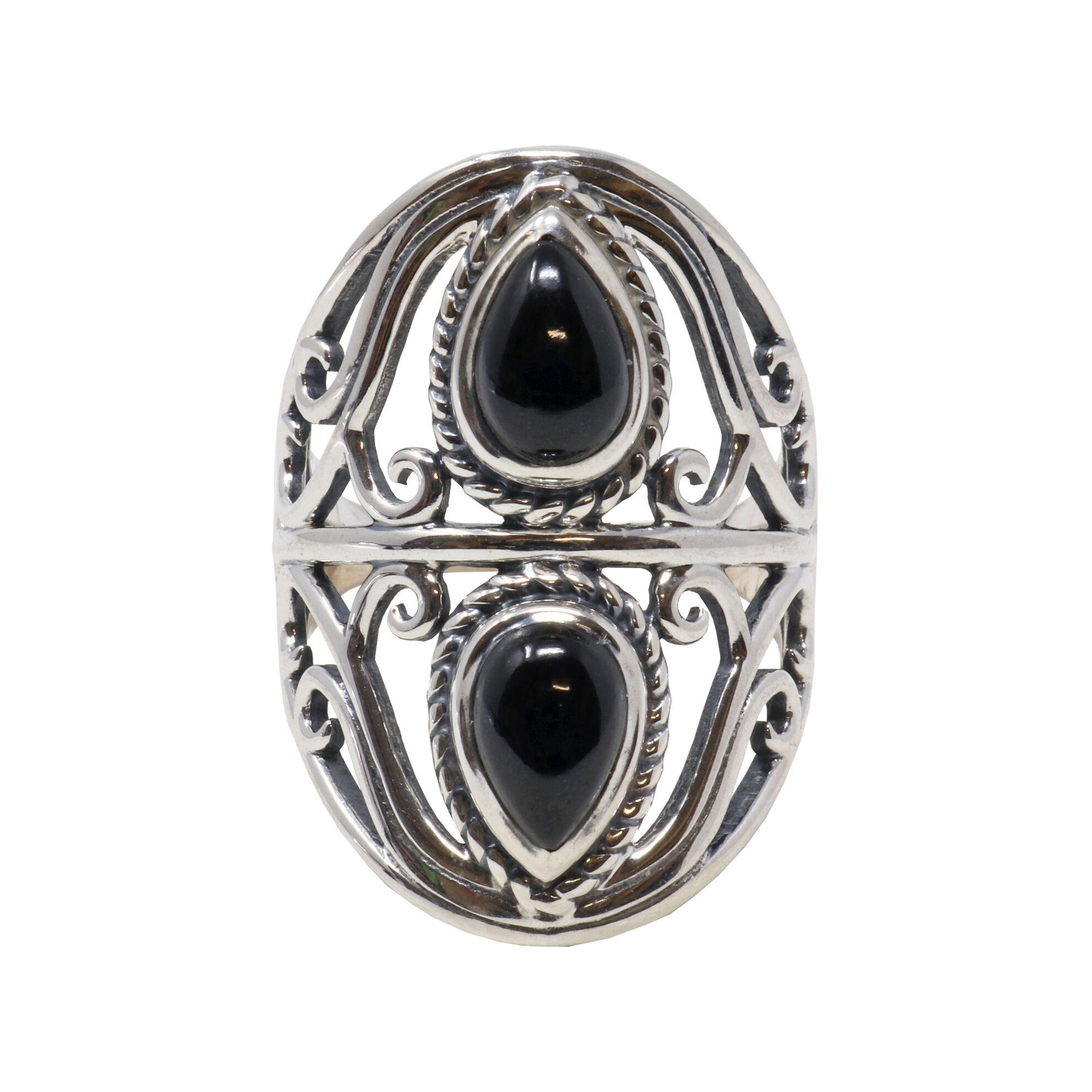Black Onyx Ring 2 Pears Sz7