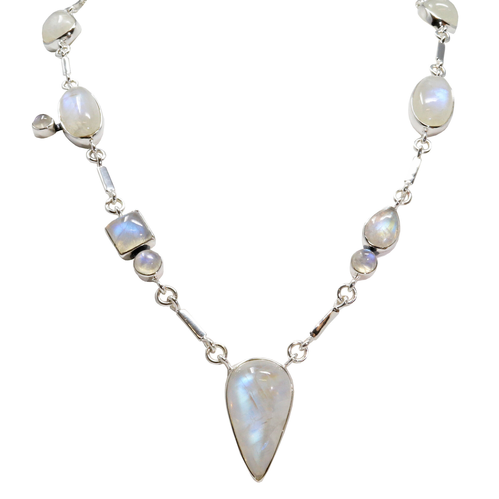 Rainbow Moonstone Necklace Geometric Cabochons With Silver Bar Links