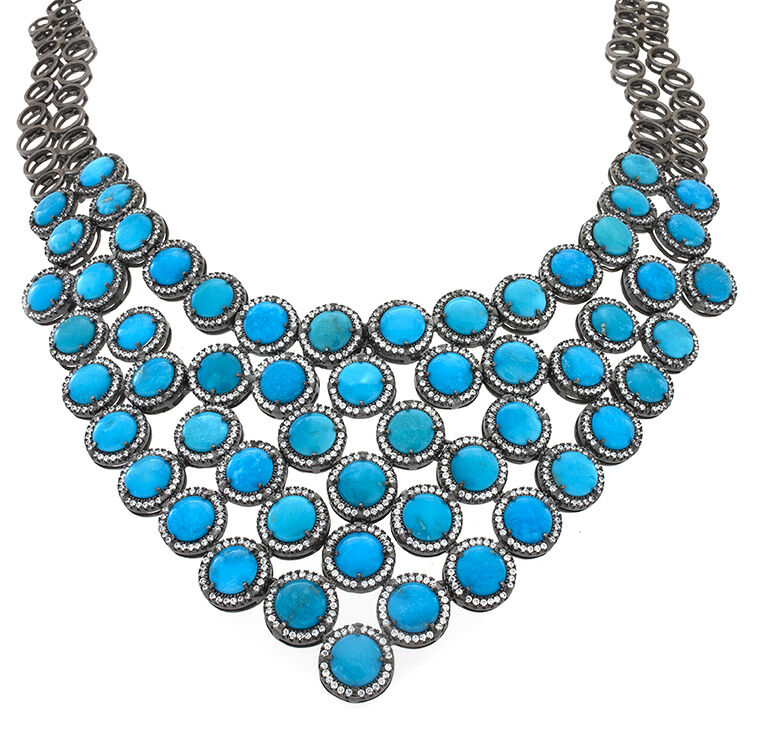Sleeping Beauty Turquoise Necklace With Black Rhodium Overlay