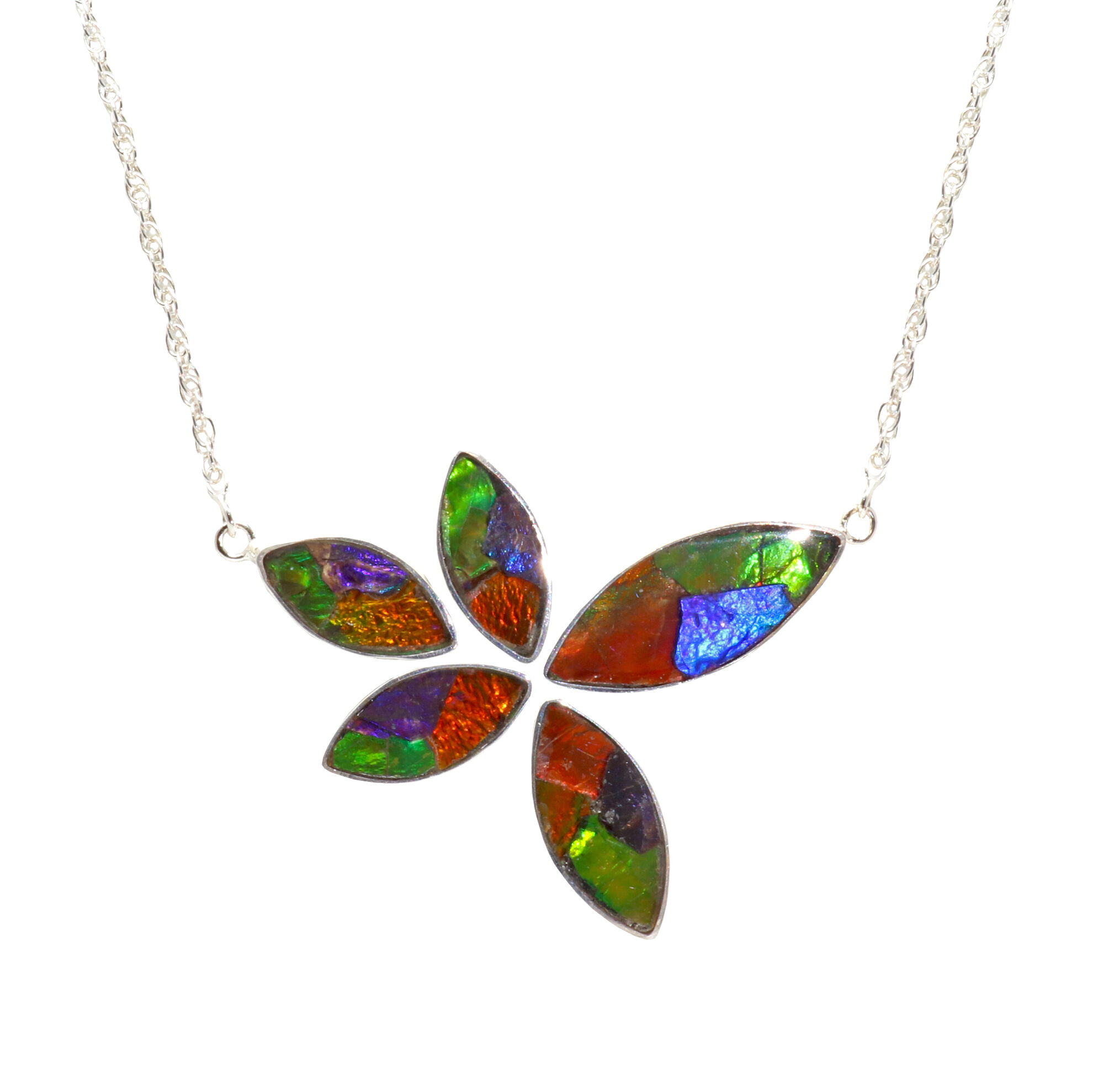Ammolite Necklace 5 Sharp Oval Cabochons In Impressionistic Layout With Silver Bezels  18 Rolo Chain