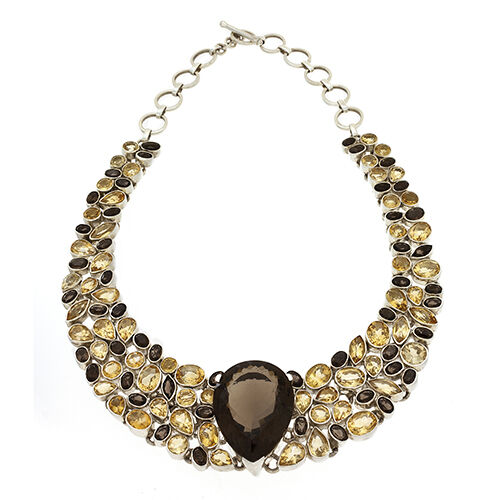 Smoky Quartz Citrine Necklace Collar