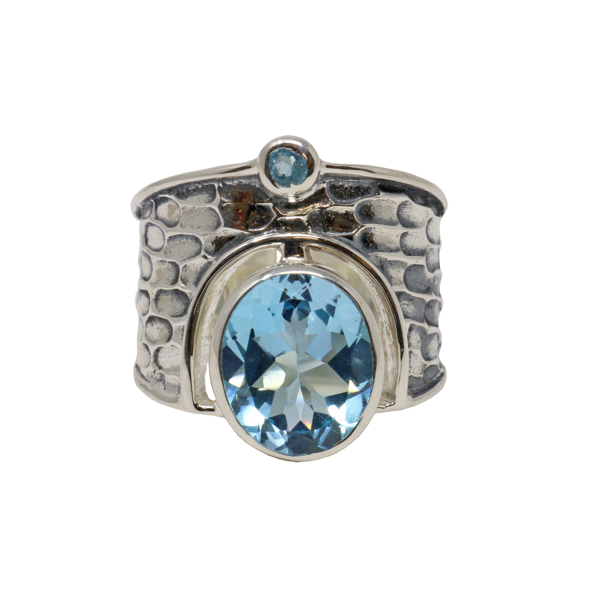Blue Topaz Ring Oval  Round Wide Band Sz9