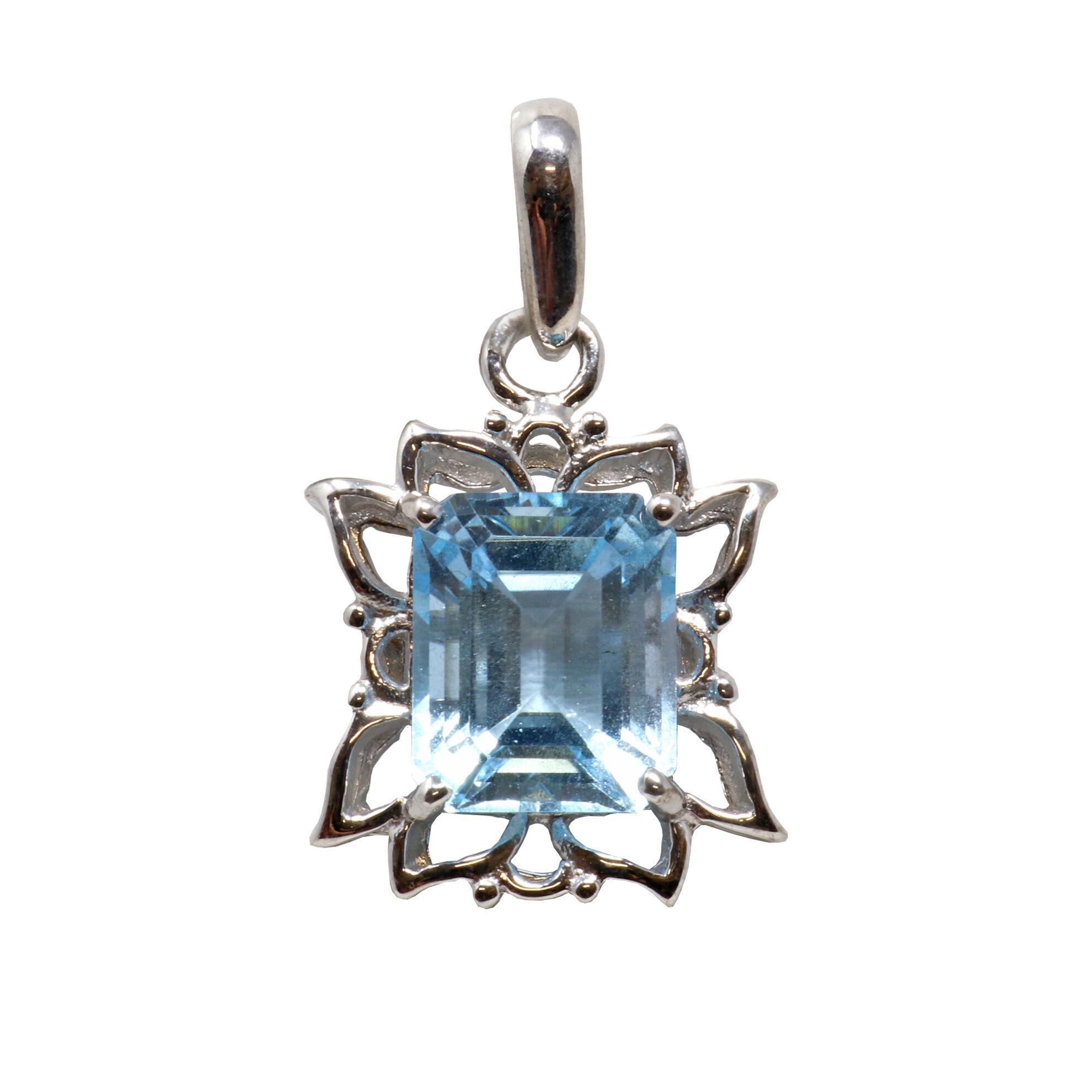 Blue Topaz Pendant Emerald Rectangle With Silver Flower Petal Edges  Prong Set