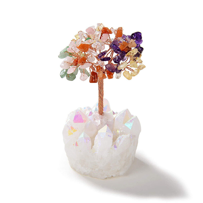 Multi Beaded Gemstone Tree On Angel Aura Coated Quartz Crystal Base