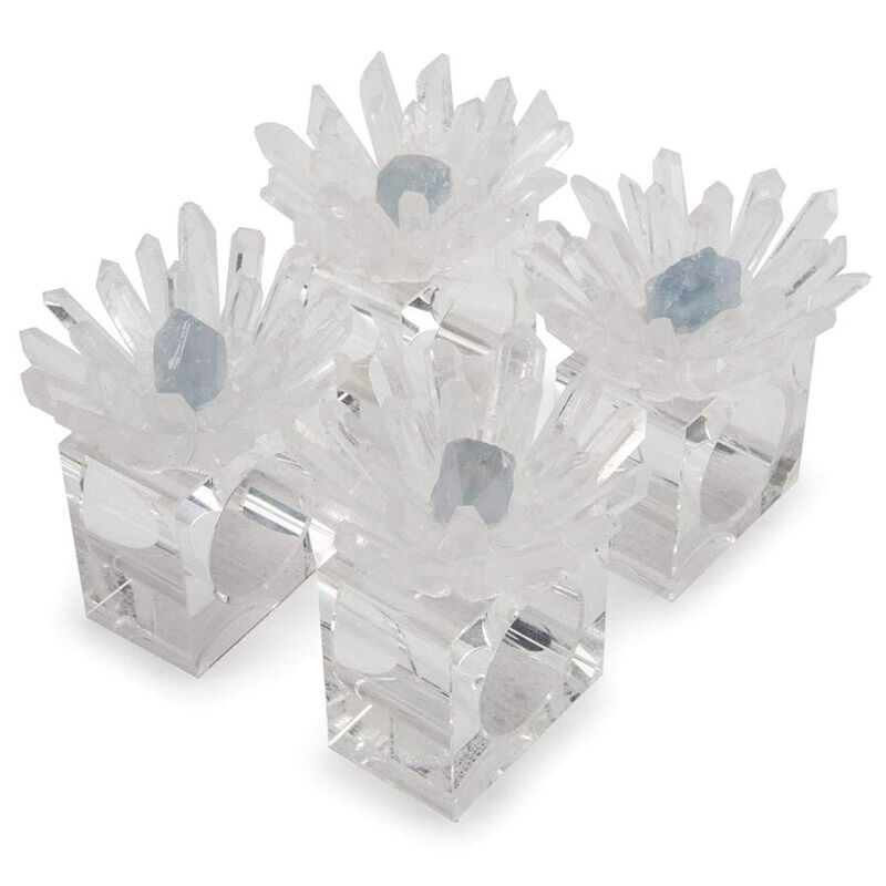 Quartz Celestine Flower Napkin Holder 4Pc Set