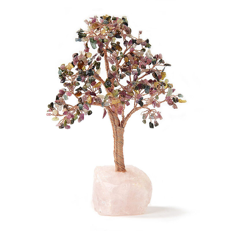 Multi Tourmaline Beaded Tree Small On Rose Quartz Base