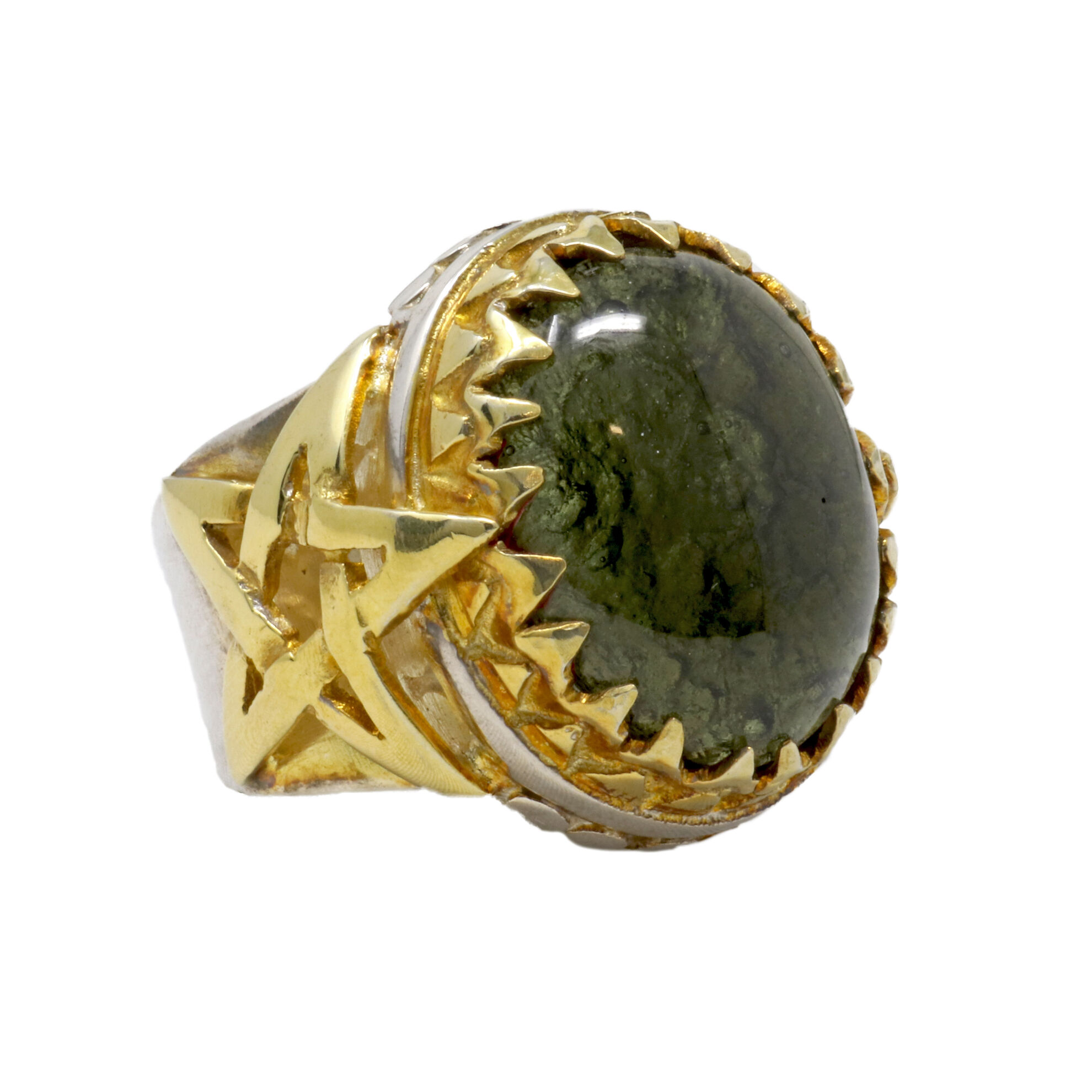 Moldavite Ring Cabochon In Star Band With 22K Overlay Size 9