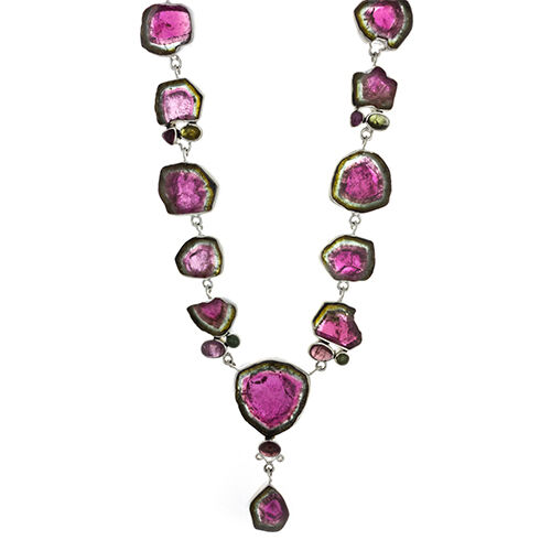 Watermelon Tourmaline Necklace Polished Slice Cabachon