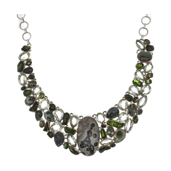 Closeup photo of Ocean Jasper Necklace -Oval Center With Chrome Diopside & Green Tourmaline & Prasiolite
