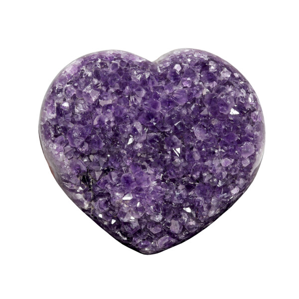 Closeup photo of Amethyst Druze Heart