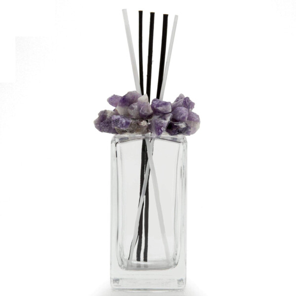 Closeup photo of Amethyst Gemstone Scent Diffuser With Selenite & Wooden Sticks