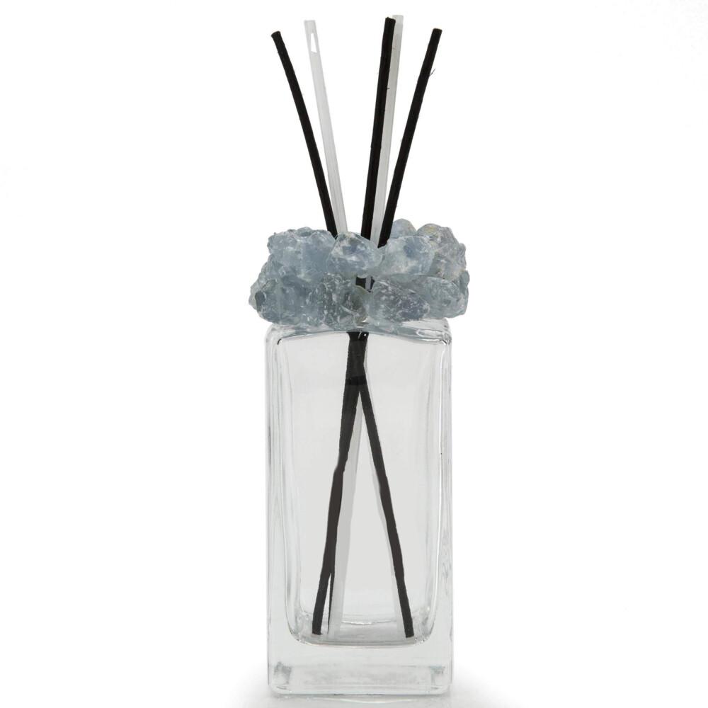 Celestine Gemstone Scent Diffuser With Selenite & Wooden Sticks