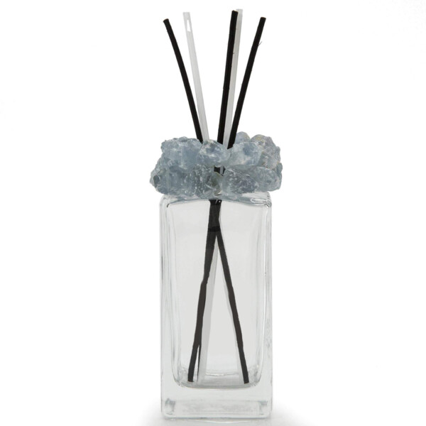 Closeup photo of Celestine Gemstone Scent Diffuser With Selenite & Wooden Sticks