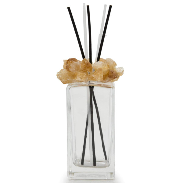 Closeup photo of Citrine Gemstone Scent Diffuser With Selenite & Wooden Sticks