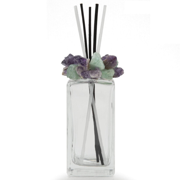Closeup photo of Fluorite Gemstone Scent Diffuser With Selenite & Wooden Sticks
