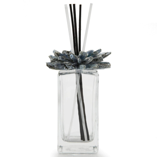 Closeup photo of Kyanite Gemstone Scent Diffuser With Selenite & Wooden Sticks