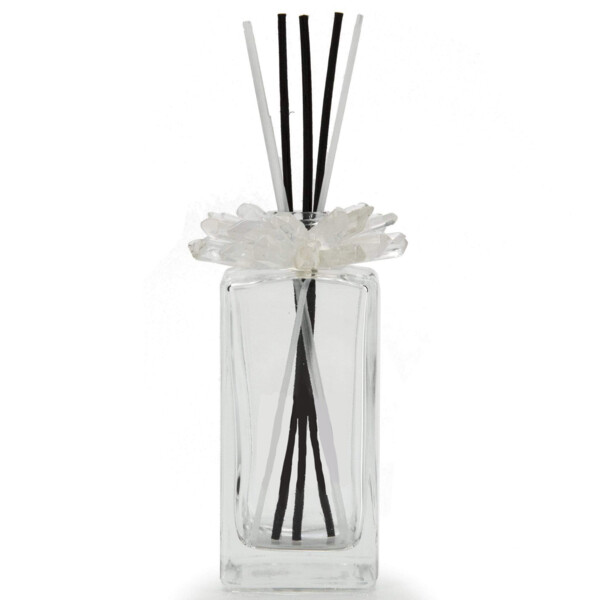 Closeup photo of Clear Quartz Gemstone Scent Diffuser With Selenite & Wooden Sticks