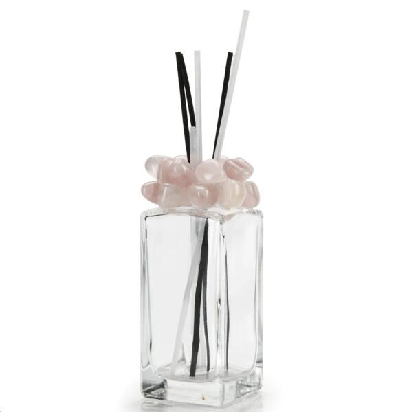 Closeup photo of Rose Quartz Gemstone Scent Diffuser With Selenite & Wooden Sticks