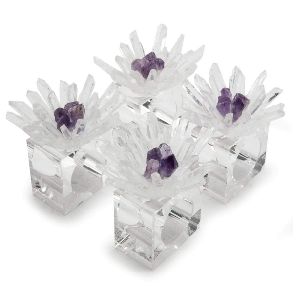 Closeup photo of Quartz & Amethyst Flower Napkin Holder 4pc Set