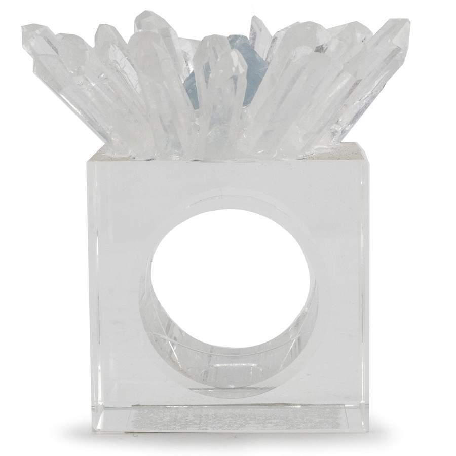 Quartz & Celestine Flower Napkin Holder 4pc Set