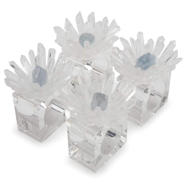 Closeup photo of Quartz & Celestine Flower Napkin Holder 4pc Set
