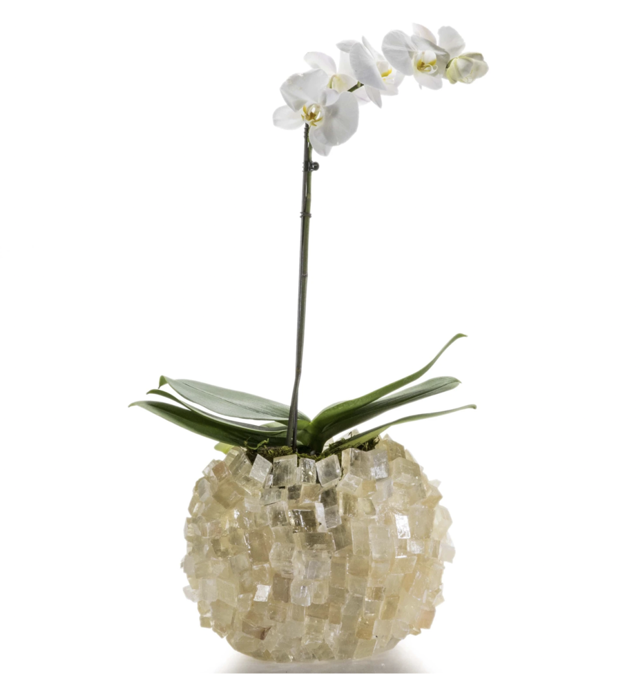 Calcite Cube Gemstone Vase -Oval
