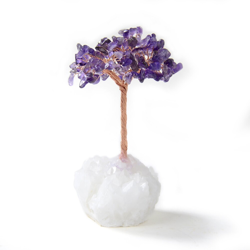 Image 2 for Amethyst Beaded Gemstone Tree On Quartz Crystal Base