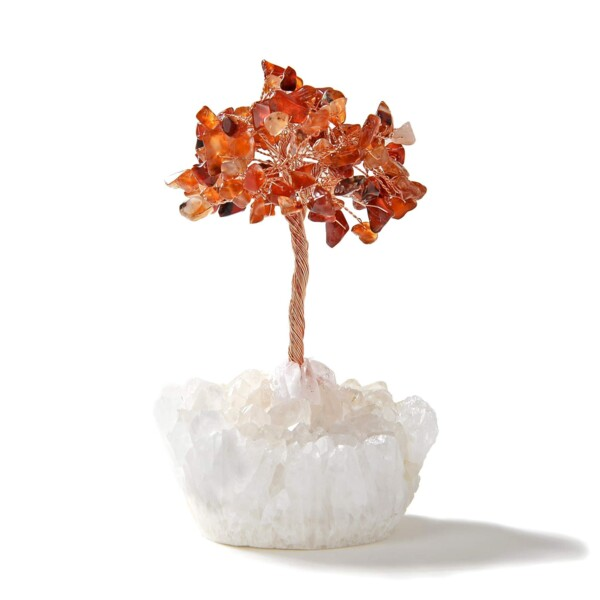 Closeup photo of Carnelian Beaded Gemstone Tree On Quartz Crystal Base
