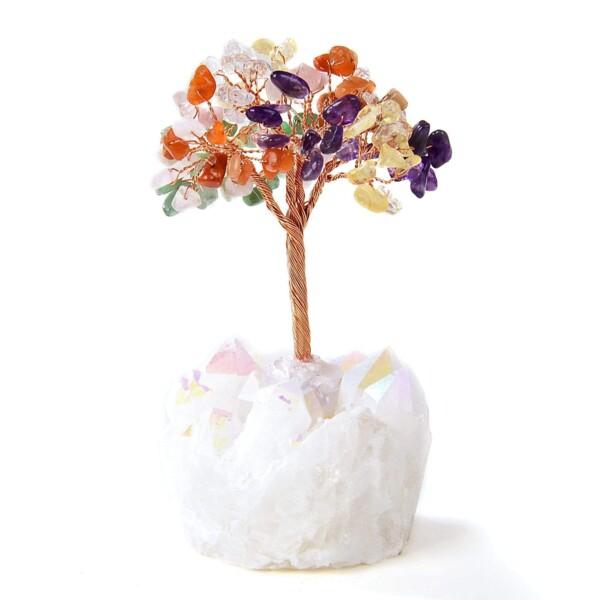 Closeup photo of Multi Beaded Gemstone Tree On Angel Aura Coated Quartz Crystal Base