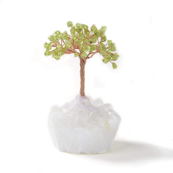 Closeup photo of Peridot Beaded Gemstone Tree On Quartz Crystal Base