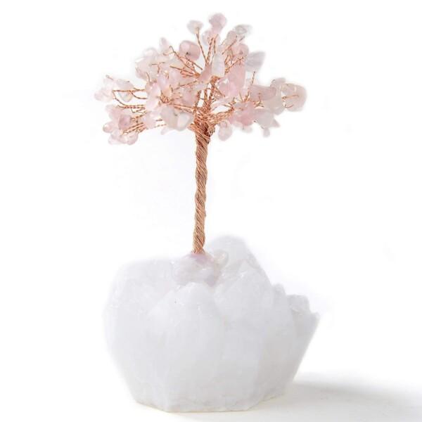 Closeup photo of Rose Quartz Beaded Gemstone Tree On Quartz Crystal Base
