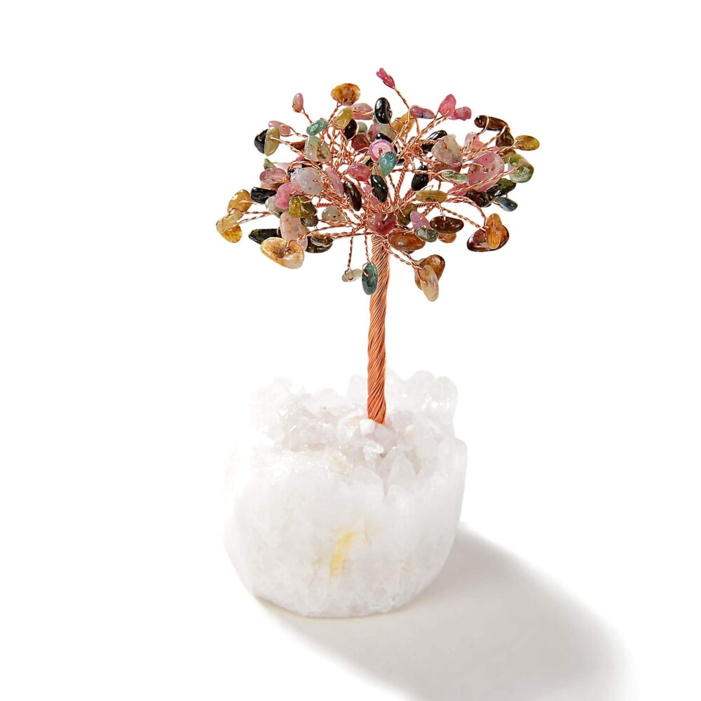 Multi-tourmaline Beaded Gemstone Tree On Quartz Crystal Base
