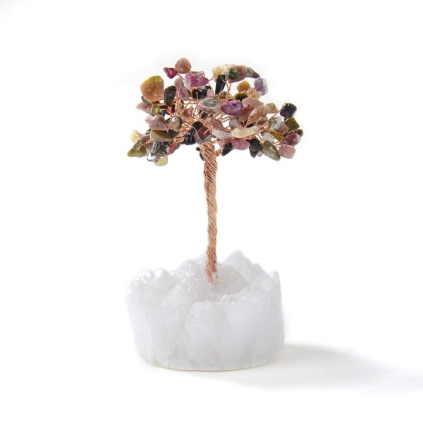 Closeup photo of Multi-tourmaline Beaded Gemstone Tree On Quartz Crystal Base