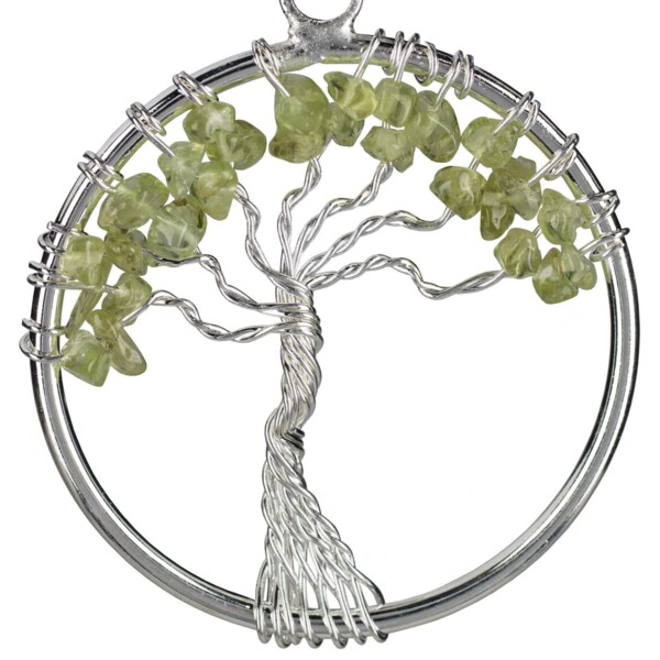 Closeup photo of Peridot Tree Of Life Pendant