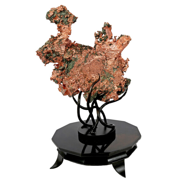 Closeup photo of Native Michigan Copper Specimen On Custom Rotating Stand With Tentacles