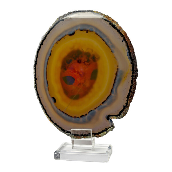 Closeup photo of Agate Slice On Acrylic Screw-in Stand With Sunset Colors