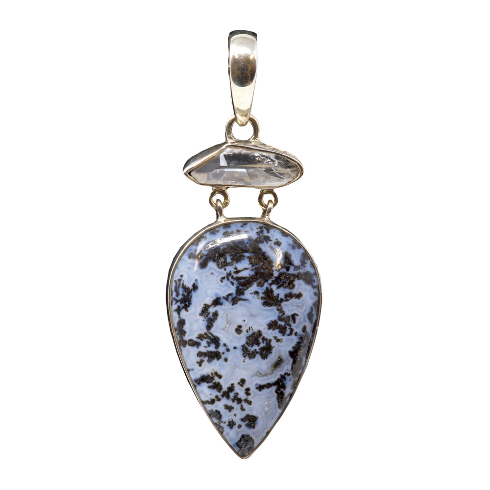 Dendritic Opal Pendant With Herkimer Diamond