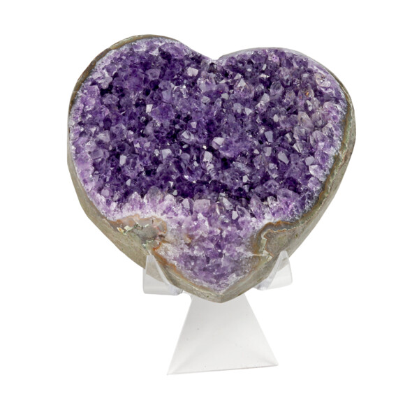 Closeup photo of Amethyst Druze Crystal Heart On Cluster Stand