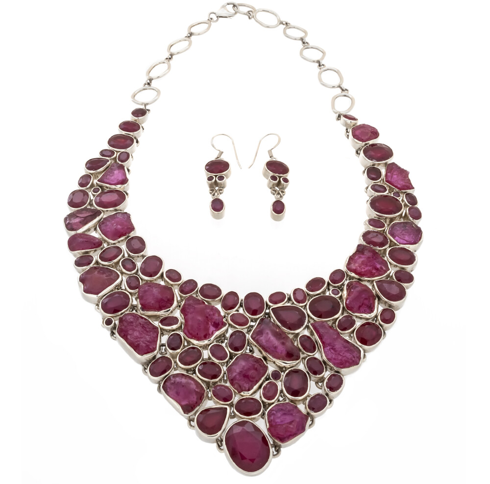 Ruby Demicollar Necklace Set -Rich Nuggets & Faceted Earrings