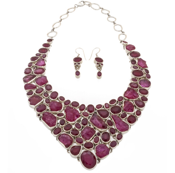 Closeup photo of Ruby Demicollar Necklace Set -Rich Nuggets & Faceted Earrings
