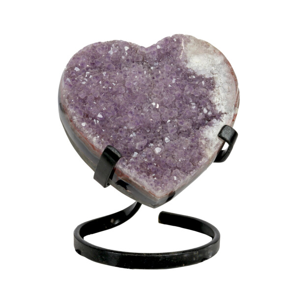 Closeup photo of Amethyst Heart In Spiral Stand -Muave Agate Druze