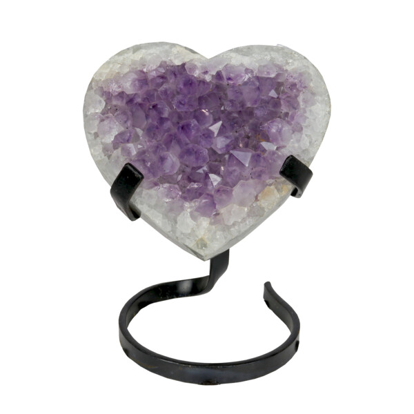 Closeup photo of Amethyst Heart In Spiral Stand With Quartz Edge