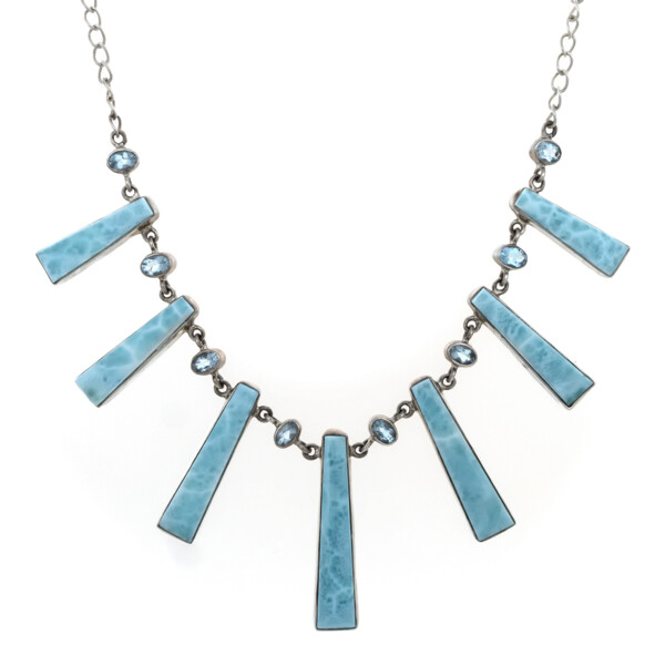 Closeup photo of Larimar Bar Necklace With Blue Topaz