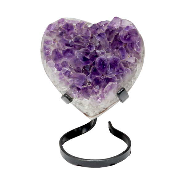 Closeup photo of Amethyst Crystal Heart On Spiral Stand -Classic